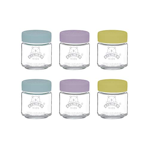 Kilner 0025.016 Set of 6 Kids Jars 110ml, Glass