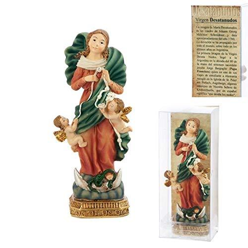 DRW Figura Virgen Desatanudos Resina 11 cm con Caja con la Historia