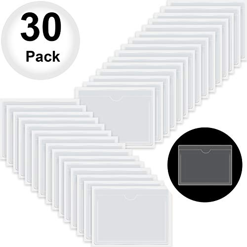 Self-Adhesive Business Card Pockets with Top Open for Loading, Card Holder for Organizing and Protecting Your Cards or Photos, Crystal Clear Plastic (3.6 x 4.8 Inches, 30 Packs)