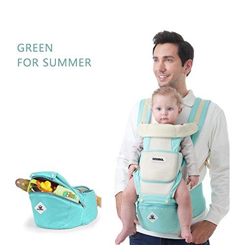 Porte-bébé, CONMING Muti-fonction Hip Seat Carrier Totalement Respirant Bébé Transporteur Sac à dos avec Détachable et Fonction de Stockage Siège pour l'été pour la Saison (green for summer)