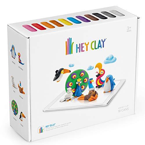 Hey Clay Interaktive Knete Kinderknete Modelliermasse 18 Behälter DIY-Bastelset App Kinderspielzeug (Vögel)