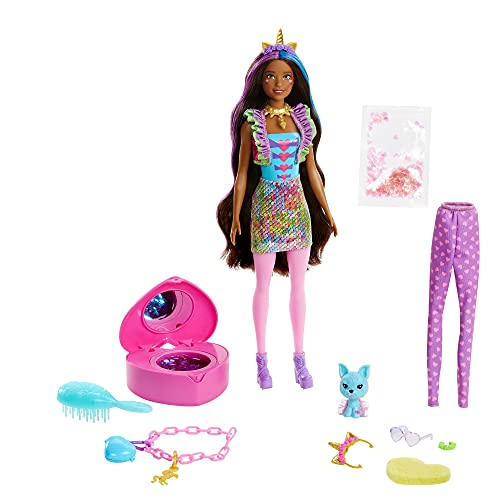 Barbie Color Reveal Peel Doll Set with 25 Surprises Including Pink Peel-Able Doll & Pet & 16 Mystery Bags with Clothes & Accessories for 2 Unicorn-Inspired Looks; 4 Color-Change Features