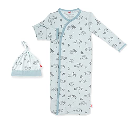 Magnetic Me Baby Gown & Hat Sleep Outfit Soft Modal Layette Sack Set with Magnet Fasteners Newborn - 3 Months Koala Cuddles Blue
