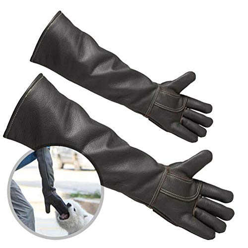 YYQQ 60cm Waterproof Animal Handling Gloves,Double-Layer Cowhide Thickened and Lengthened,Anti-bite/Scratch Gloves Safe Durable Leather Gloves for Dog Cat Bird Snake Wild Animals and Gardening Gloves