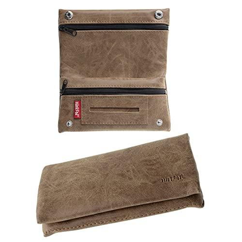 HIBRON Porta tabacco Borsello in vera pelle (58105 Marrone)