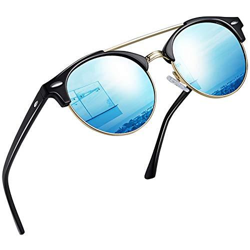 Joopin Gafas de Sol Polarizadas Hombre Redondas Clásico Vintage Retro Puente Doble...