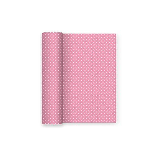 Mantel de papel para fiesta con decorado de Lunares Rosa Baby - 1,2 x 5 m