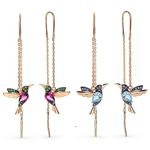 2 Paar Bunte Fliegende kolibri Ohrringe, Tier Ohrhänger mit allergikerfreundlichen Eigenschaften, Threader Ohrringe für Frauen jeden Alters (Rot+Blau)