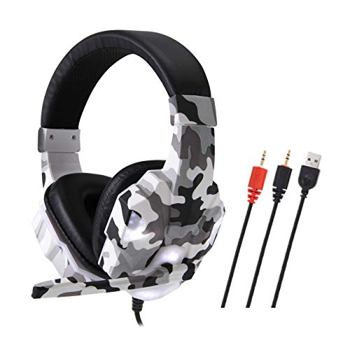 ANYIKE Head-mounted Gaming Headset, USB Wired Hoofdtelefoon met 35MM Driver, Surround Sound & Microfoon voor Laptop Mac Nintendo Switch Games PC Camouflage Grijs
