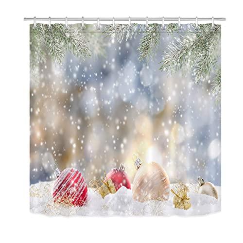 Weihnachtskugeln Duschvorhang für BadezimmerPine Tree Branch Bokeh Winter Schneeflocke Duschvorhang Set mit 12 Haken72x72 Zoll Extra langes Polyestergewebe wasserdicht