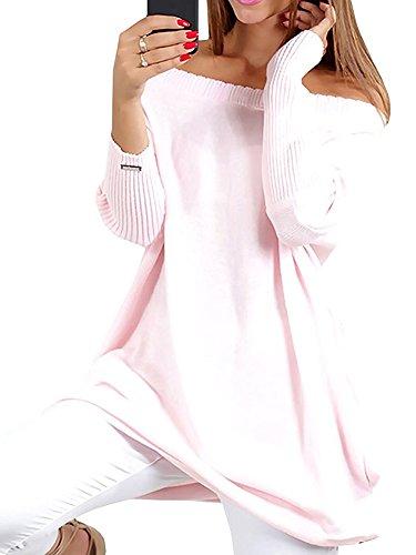 Minetom Damen Langarm Stretch Pullover Pulli Kleid Oversize Schulterfrei Strickkleid Frauen Fledermausärmel Lose Sweatkleid Outwear rosa 40
