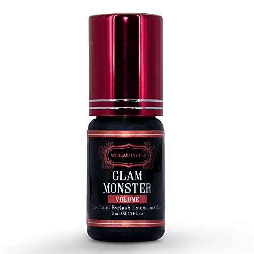 Colla Glam Monster 5g/Tempo di polimerizzazione 1-2 secondi/Sostenibilità fino a 8 settimane/Solo negozi di bellezza per l'estensione delle ciglia ultra-rigide (Volume)