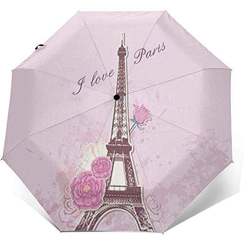 Torre Eiffel Rosa a Parigi pieghevole compatto ombrello impermeabile-blocco Sole-Auto Open&Close (colla nera)