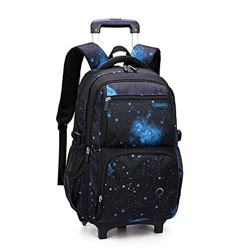 Night K Mochila escolar grande de almacenamiento para estudiantes, mochila con ruedas, impermeable, para estudiantes, adolescentes, mochila informal F-30 x 23 x 46 cm