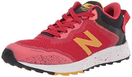 New Balance Kid's Fresh Foam Arishi Trail V1 Bungee Running Shoe, Toro Red/Black/Varsity Gold, 11.5 Wide Little