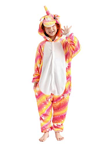 Kids Animal Onesie Unicorn Flannel Pajamas Cosplay Costume Bright 4-6T - http://coolthings.us
