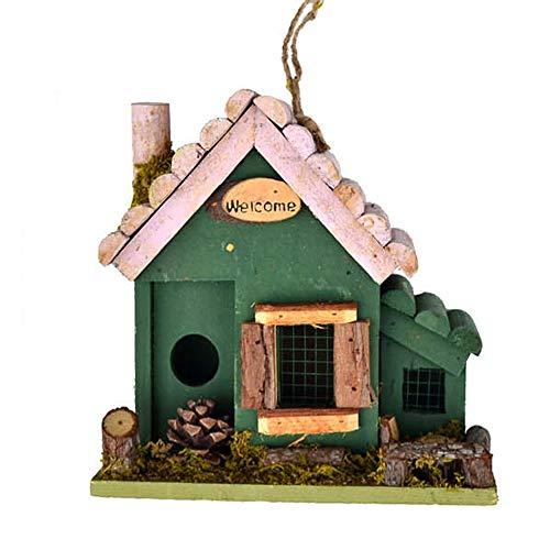 Bird House Style Cottages Bird House bois en plein air Birdhouse Bird House Avec Welcome Card Pays for les petites oiseaux Cabine Birdhouse Rétro Steeple Creative Outdoor Hanging Décoration pour jardi