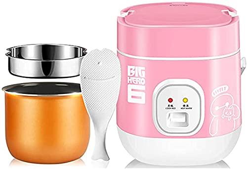 HHORB Olla De Arroz Y Vaporizador Digital Mini 1.2L Antiadherente con Función Keep Warm Olla Interior Premium 1-2 Personas 200W, Rosa,Rosado