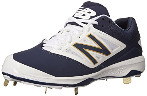 New Balance Men's L4040V3 Cleat Baseball Shoe, Navy/White, 49 2E EU
