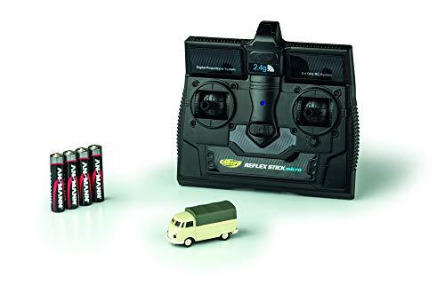 CARSON 500504117 - 1:87 VW T1 Bus Pritsche 2.4G 100{2e9a64da61a6c46ab78225f17016f23c9a8028cf0ab29fea2183776d0c962267} RTR, Fahrfertiges Modell, 2.4 GHz Fernsteuerung mit Ladeanschluss, inkl. 4xAAA Senderbatterien, mit LED Beleuchtung, Anleitung