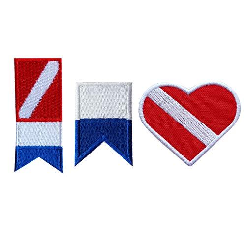 F Fityle 3 Set Chapa Parche con Bandera Alfa, Color Rojo Marinero, Recuerdo de Buceo, Adornos Decorativos de Ropa Casa