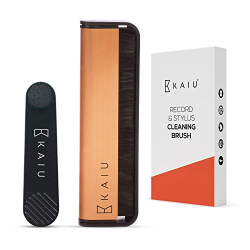 KAIU Vinyl Record & Stylus Cleaning Brush Combo - 2-in-1 Anti Static Carbon Fiber Brush Kit for LPs & Turntable Needles - Remove Dust & Debris - No Scratch Cleaner & Album Player Maintenance Pack