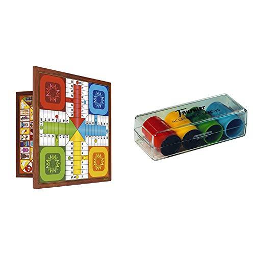 Fournier Parchis y Oca 33x33 cm Tablero, Multicolor, única (521111) + Accesorios PARCHIS (4 Jugadores) (F06513)