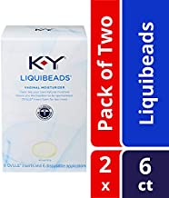 K-Y Liquibeads Vaginal Moisturizer- Bead Inserts with Applicators to Restore Natural Moisture, 6 Count, Pack of 2