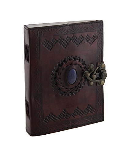 Embossed Leather With Stone (color may vary) 120 Page Unlined Journal with Clasp by AzureGreen, Brown