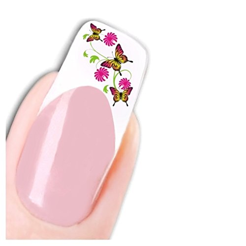 Just Fox – Stickers Fleurs pour ongles Nail art autocollants Flower Butterfly Pied Water Decal