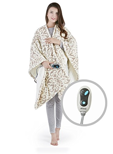 Beautyrest Ultra Soft Sherpa Berber Fleece Electric Poncho Wrap Blanket Heated Throw with Auto Shutoff - 5 Year Warranty, 50' W x 64' L, Lattice Grey
