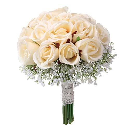 Amosfun Hochzeits-künstlicher Blumen-Blumenstrauß-gefälschte Blume, die Blumenstrauß für Braut hält