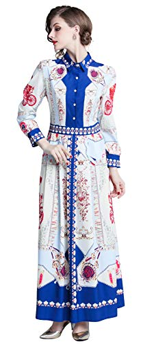 Women's Collared Neck Button Up Paisley Print Flowy Party Maxi Shirt Dress