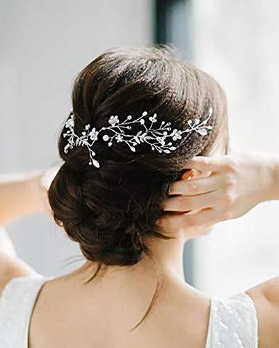 Unicra Braut Hochzeit Haar Weinrebe Silber Blume Haarschmuck Brautschmuck Kristall Kopfschmuck für Frauen und Mädchen