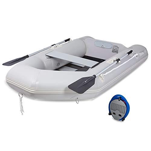 Z ZELUS 2,3M Schlauchboot 2 Personen Aufblasbares Boot 230x130x33cm Sportboot mit 2 Paddel und Luftpumpe Grau Paddelboot Ruderboot Schlauchboot Angeln mit Sitzbank Aluboden