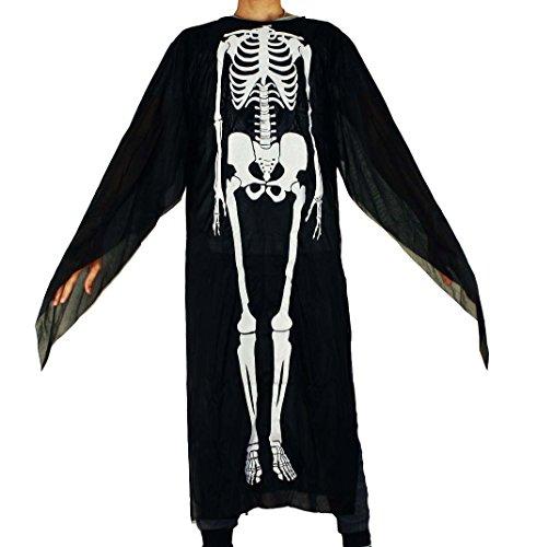 HAAC Adult Black Halloween Fancy Dress Skeleton Costume Karnevall