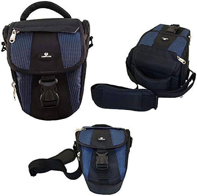 Case4Life Negro/Azul Funda Bolsa para cámaras réflex para Panasonic Lumix DMC- Serie Inc G70 G80 G85 DMC-GH4 DMC-GH5 FZ62 FZ72 FZ200 DMC-FZ72EB-K DMC-FZ300 FZ1000EB FX2000 FZ2500