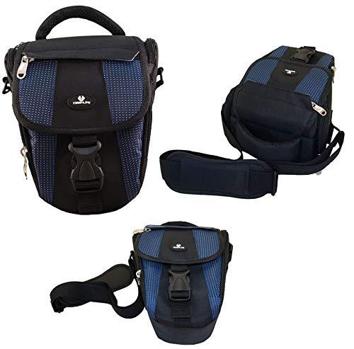 Case4Life Negro/Azul Funda Bolsa para cámaras réflex para Nikon SLR D Serie - D3100, D3200, D3300, D3400, D4, D40, D5, D500, D5100, D5200, D5300, D5500, D700, D750, D7100, D7200, D800, D810, D810A