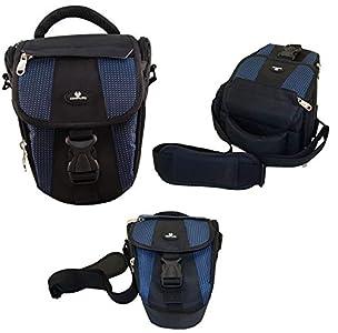 Case4Life Negro/Azul Funda Bolsa para cámaras réflex para Canon EOS Inc 1300D, 1200D, 100D, 1100D, 80D, 700D, 750D, 760D, 70D, 600D, 500D, 5D, 5DS, 400D, 6D, 650D, 1000D, M3, M5