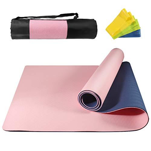 NAFFIC Esterilla Yoga,Alfombrilla de Yoga Texturizada Antideslizante 3*Banda de Resistencia,1* Correa de Transporte para Ejercicios para Yoga,Pilates y Ejercicios de Piso 183x61x0.6 cm (Rosado-Azul)