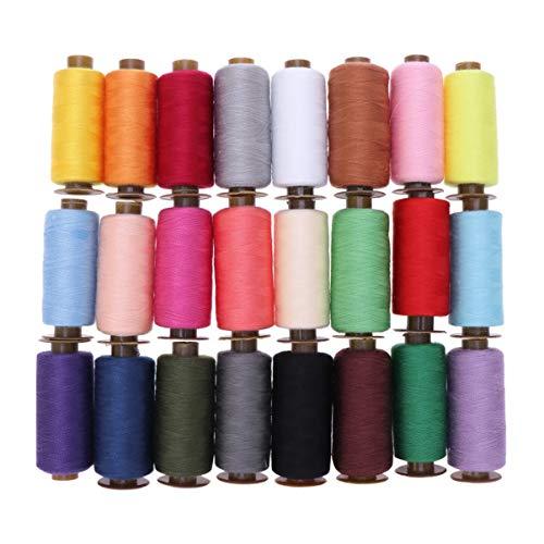 Artibetter 24 hilos de coser de poliéster para máquina de bordar, hilo de coser para máquina de coser de 500 yardas para acolchar cortinas de colores mezclados
