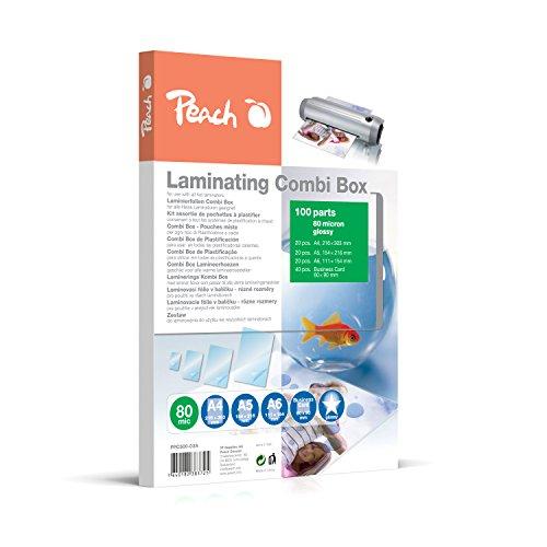 Peach PPC500-03A Laminierfolien Spar-Set 100 Folien   A4, A5, A6 und Visitenkarte   2 x 80 mic   glänzendes Finish   kompatibel mit Laminiergeräten aller Markenhersteller