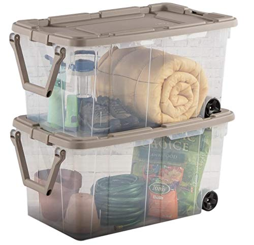 Ultra Storage Bin 2pc Clear Weathertight 40gal Box with Handle Portable Container Latching Lid Durable Organizer Mudroom Garage Workshop Laundry Easy Mobility & eBook by BADAshop
