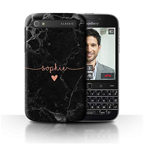 Stuff4 Personalisiert Individuell Roségold Endlos Marmor Hülle für BlackBerry Classic/Q20 / Handschriftliche Roségold Herz Design/Initiale/Name/Text Schutzhülle/Case/Etui