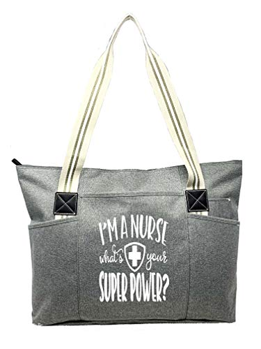 Large Nursing Zippered Tote Bags with Pockets for Nurses - Perfect for Work, Gifts for CNA, RN, Nursing Students (Nurse Superpower Gray Tessa Prime)