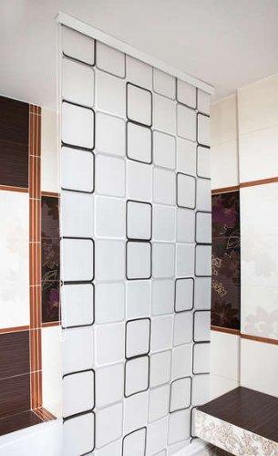 KSHANDEL24 MAßANFERTIGUNG HALB-Kassetten DUSCHROLLO Modell Quadro Weiss GRAU SCHWARZ! DUSCHVORHANG LÄNGE UND BREITE NACH Wunsch! (bis 160 cm, bis 400 cm)
