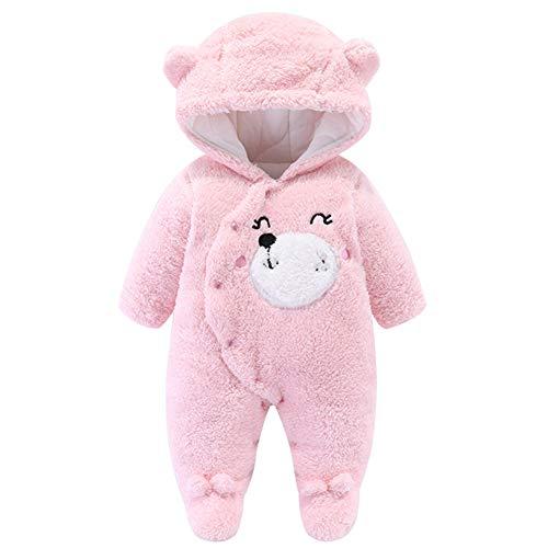 YFPICO Unisexo Mameluco para Bebé Mono Franela Invierno Pelele Infantil Niños Niña Osito Disfraz Pijama Trajes Caliente, Rosa, 3-6 Meses Etiqueta 66