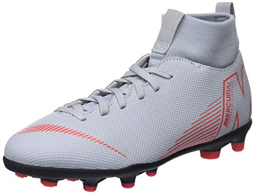 Nike JR SUPERFLY 6 CLUB FG/MG, Zapatillas de Fútbol Unisex Niños, Gris (Wolf Grey/Lt Crimson/Black 060), 38 (UK 5)