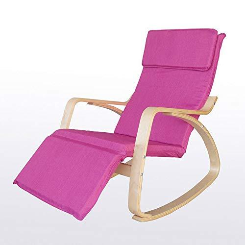 KFXL yizi Chaise à bascule adulte en bois massif de style européen/Bureau Fauteuil inclinable Siesta/Balcon Chaise à dossier décontracté/Chaise amovible (8 couleurs en option) (Couleur : Pink)