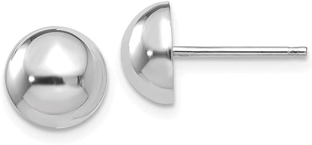 14k White Gold Half Ball Stud Earrings (L-8 mm, W-8 mm)